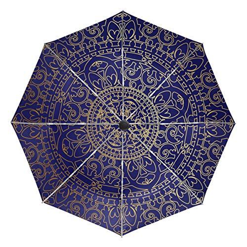 DEZIRO Mandala Hippie Oriental Azul y Dorado para Exteriores, Paraguas, Apertura automática, Resistente al Viento, Resistente al Agua