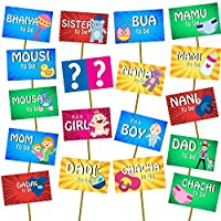 Party Propz™ Baby Shower Set of 18 Photo Booth / Baby Shower Photo Booth / Baby Shower Party Props / Baby Shower Photo Props / Baby Shower Props for Photo Booth