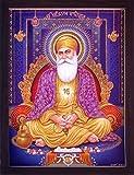 gurunank Devji auf Thron sitzend mit Hand, Einen Poster Malen mit Rahmen für Sikh Religiöse...