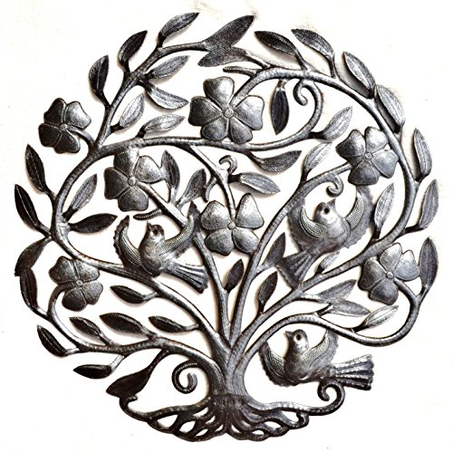 Es ist Kaktus-Metall Art Haiti Flower Tree of Life, Haiti Metall Wand Kunst, Skulptur, Drum aus Stahl, 57,1x 58,4cm