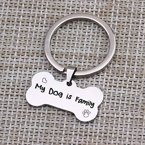MEIHEK 1 Stück Mein Hund ist Familie Schlüsselanhänger Liebhaber Hund Mutter Hund Schlüsselbund Edelstahl Schlüsselanhänger Knochen geformt Charme Schlüsselzubehör -