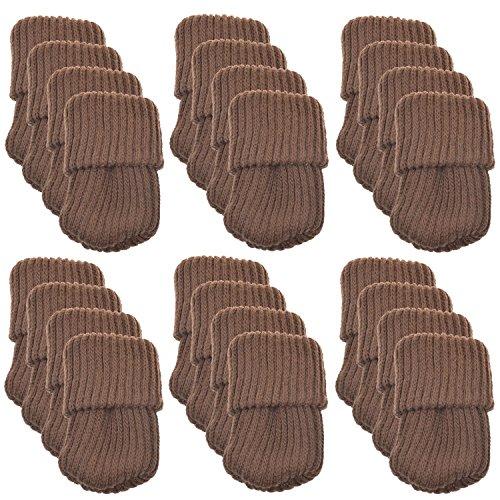 SindeRay - calzini per mobili, 24 pezzi, in lana lavorata all'uncinetto, protezione per il pavimento Coffee