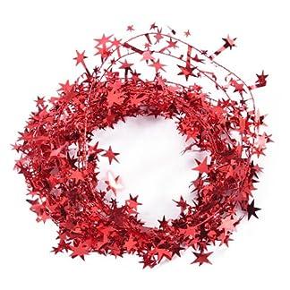 Desconocido 23pies Brillante espumillón en Forma de Red-Star Alambre Guirnalda decoración de Navidad, Metal, Rojo, 1 Pack