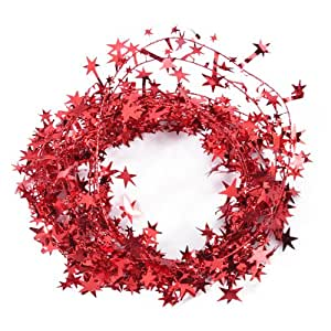 Generic 23 Feet Red Star Tinsel Garland Christmas Decoration