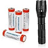 Juego de linterna LED de mano con 4 baterías recargables 18650, pequeñas linternas tácticas con 5 modos de luz para acampar,