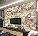 Y-Hui 3d large wallpaper wallpaper mural TV backdrop seamless living room bedroom imitation jade carving dragon fly,200cmx140cm
