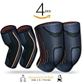 Compression Knee Sleeve Elbow Sleeve Support Set (2 Pairs) Men women Knee and Elbow Brace for Running, Jogging, Walking, Workout, Joint Pain Relief, Arthritis and Injury Recovery (Medium Size) (Grey)