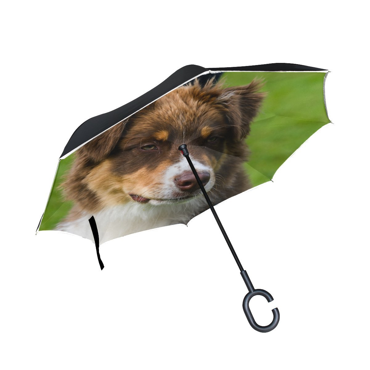 JOCHUAN Animal Dog Affenpinscher Brown Mix Fluffy Small Puppy Pet Inverted Umbrella Large Double Layer Outdoor Rain Sun Car Reversible Umbrella