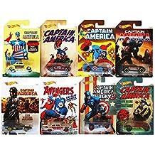 Mattel Hot Wheels, DJK75, - Vehículos Capitán Ameríca, 3 modelos surtidos