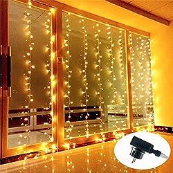 Tenda di Luci, Guaiboshi 3m x 3m LED Luci Cascata per Finestra Porta 300LEDs 8 Modalità, Tenda Luminosa di Natale-Bianco Caldo