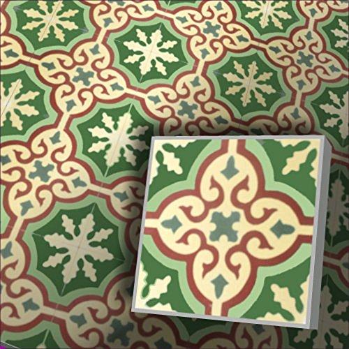 Zementfliesen Iraquia grün rot Musterfliese