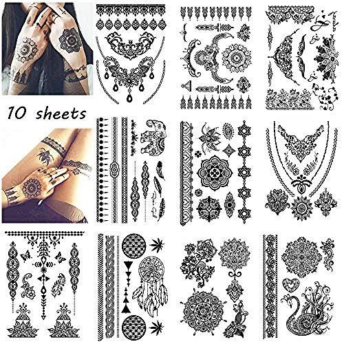 Für Einfache Last Minute Kostüm Erwachsene - 10 Blatt Große Tattoo Aufkleber Für Hochzeit Schwarzer Tinte Spitze Paste Frauen Party Bräute Blume Temporäre Tätowierung