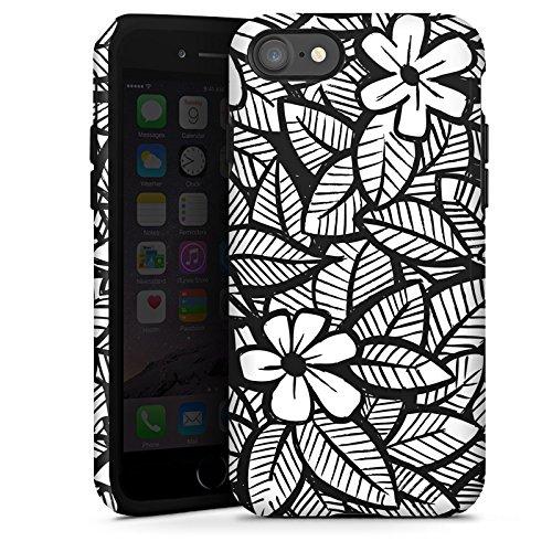 Apple iPhone X Silikon Hülle Case Schutzhülle Blumen Blätter Schwarz Weiß Tough Case glänzend