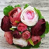 asdomo 1Bouquet Tea Rose Blumen Künstliche Blume Braut Brautjungfer Hochzeit Home Party Deko weinrot