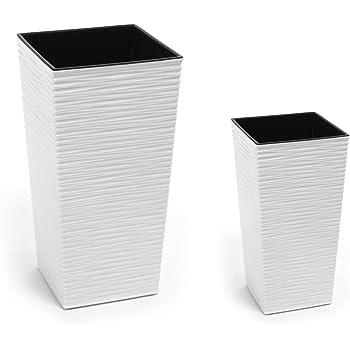 2 Stück KREHER Design Pflanzkübel aus Kunststoff in strukturiertem ...