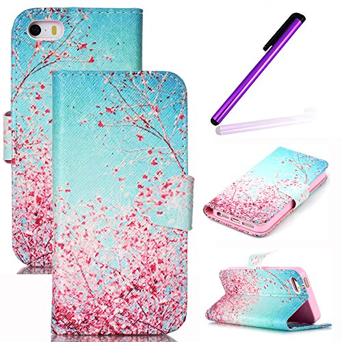 Für iPhone 6S Plus Hülle,iPhone 6S Plus Hülle,EMAXELERS iPhone 6S Plus Case,iPhone 6 Plus Case,Blauer Streifen Muster Hülle chutzhülle Case Cover Etui Schale mit Standfunktion Kartenfächer Weich TPU Innere Hülle Case für iPhone 6/6S Plus + Send 1 Pcs Stylus,Elegant Flowers (Pink Deere John Camo)