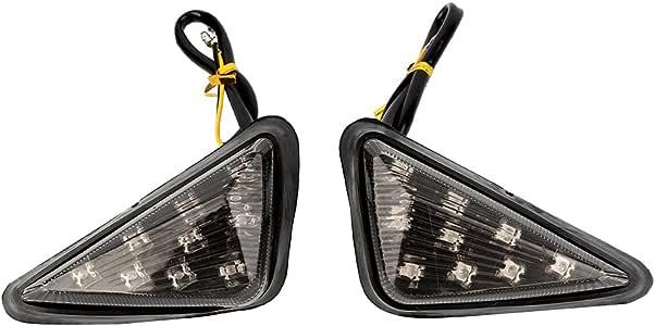 12V 1 Pair Motorcycle Euro Triangle Flush Mount Turn Signal Smoke LED Light Amber Qiilu Turn Signal Lamp