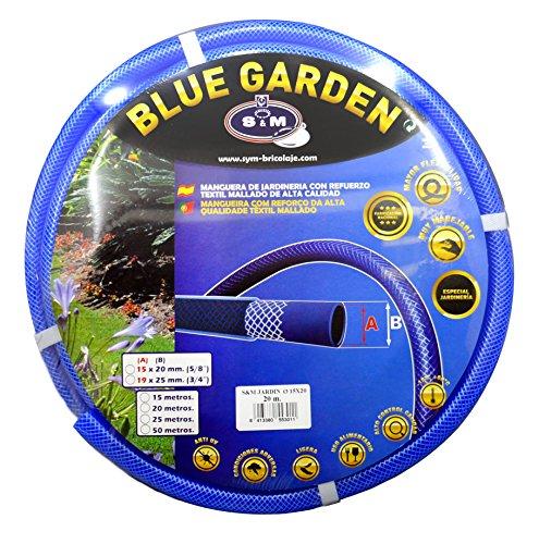"S&M 553011 Manguera de jardinería Reforzada Blue Garden 20 Metros, Azul, Rollo 15 x 20 mm-(5/8\"")"