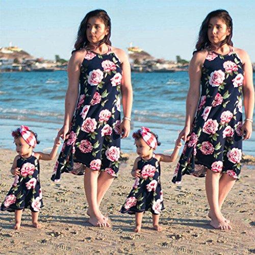 Xshuai Familienkleid Mutter und Tochter Matching Blumen Frauen Mädchen Rose Kleider Marine
