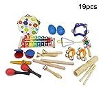 Xuendao 19Pcs/Set Wooden Tambourine Xylophone Sand Hammer Music Instrument Education Toy for Kids Preschool Educational...