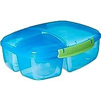 Sistema Boîte à repas avec 3 compartiments et pot de yaourt inclus, capacité totale de 2 L, Plastique, bleu