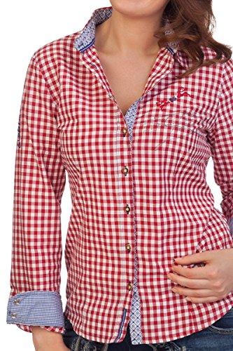 Trachten Bluse mit langem Arm - GIPFELMAID - rot Rot