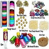 Goelx Silk Thread Bangles Making Kit, 2 Full Bangle Boxes, Full Box Silk Thread 10 Colors,Decorative Chains & All Materials - Bangle Size 2.4