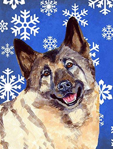 Caroline 's Treasures lh9308gf Norwegischer Elchhund Winter Schneeflocken Urlaub Flagge, klein, multicolor (Kleinen Garten Urlaub-flags)