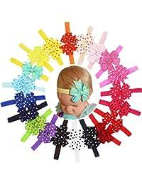 Lot de 187,6cm Boutique filles Polka Dot ruban gros-grain coloré Pinwheel enfants filles nœuds Bandeau Bande de Cheveux
