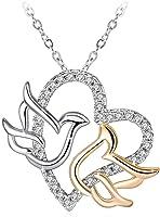 Swarovski Elements 925 Sterling Silver Heart Dove Pendant Necklace for Women Gift JRosee Jewelry JR540