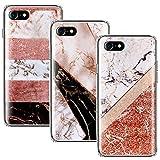 CLM-Tech kompatibel mit iPhone 7 / iPhone 8 Hülle 3X, TPU Silikon-Hülle Case Schutzhülle Handyhülle 3er Set, Marmor Mehrfarbig
