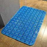 XQY Extra Große Dicke Badezimmermatte, Hochwertige Mode Duschraum, Bad Badematte, PVC-Massage-Matte,Blau,90 * 60 cm