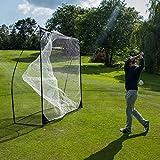 Kickster Academy Quick-Hit 8 draagbaar golf oefennet, 2,40 x 2,40 m, geel