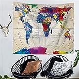 Tapiz colgante de pared, tapices hippie hippie, mapa del mundo acuarela Retro impresión tapiz del hogar, sábana hecha a mano de algodón, cubierta del sofá, colcha del lecho, hoja de playa Picnic, mantel, tapiz decorativo, 150 * 130cm