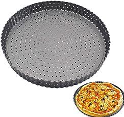 Pizza-Backblech, 28 cm Loch, Kohlenstoffstahl, hohe Temperaturbeständigkeit, antihaftbeschichtet, für den Ofen