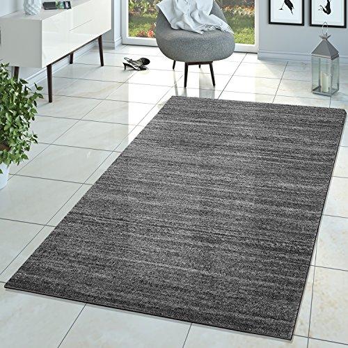 Braga Tapis moderne de salon à poils courts, gris uni, gris, 200x280 cm