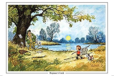"""Beginner's Luck"" by Thelwell. Large A5 fly fishing themed greeting card with envelope. Great gift accessory for the fisherman from Charles Sainsbury-Plaice"