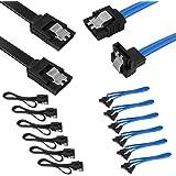 Set med 12, rak och 90 graders högervinkel SATA III-kabel 6,0 Gbps med låsspärr, SourceTon 18 tums SATA III-kabel (6 x svart,