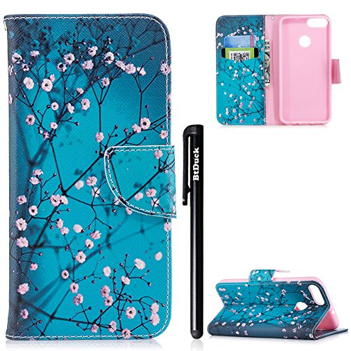 Price comparison product image Case for HUAWEI P Smart,HUAWEI P Smart Phone Case,BtDuck Leather Case Clear With Card Holder Cover Cat Phone Case Leather Wallet Butterfly Case Blue Stand Flip Cover Phone Wallet Case Vintage Retro Case Slim Soft Silicone Inner Holster Soft Leather Phone Case Painting Shockproof Cover PU Slim Fit Phone Protector Magnetic Closure Case Shell for HUAWEI P Smart+ 1 x Black Touch Pen
