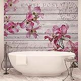 Blumen Holz Muster Vintage - Wallsticker Warehouse - Fototapete - Tapete - Fotomural - Mural Wandbild - (3546WM) - XXL - 312cm x 219cm - VLIES (EasyInstall) - 3 Pieces