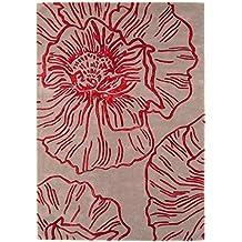 Alfombra salon sala de estar Carpet moderno Design MATRIX LIBERTY BLUMEN RUG 100% Lana 160x230 cm Rectangular Rojo   Alfombras barata online comprar