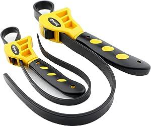 Toolwiz Bandschlüssel 2 Stück Ölfilterschlüssel Gummi Rohrzange Universal Einstellbar Bis Max Durchmesser Ø150 Mm Schwarz Gelb Auto