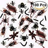 100Pcs Plastic Realistic Bugs Insects Fake Cockroaches, Spiders, Scorpions, Ants ,Geckoes,Centipedes and Worms for Halloween Party
