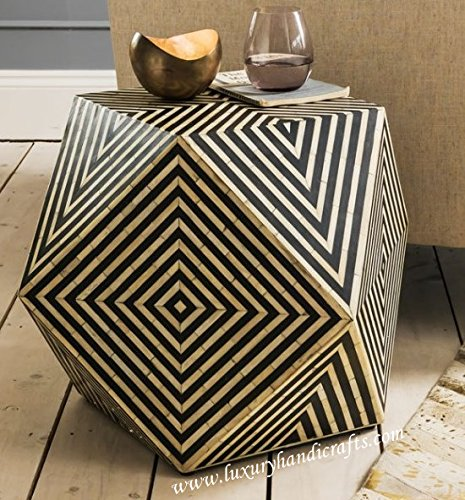 Luxury Handicrafts OS Inlay Ronde Tabouret Design, Bois Dur, Noir, 45 cm (Height) x 60 cm (Width) x 60 cm (Depth)