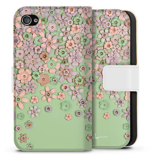 Apple iPhone X Silikon Hülle Case Schutzhülle Leder Blumen Muster Sideflip Tasche weiß