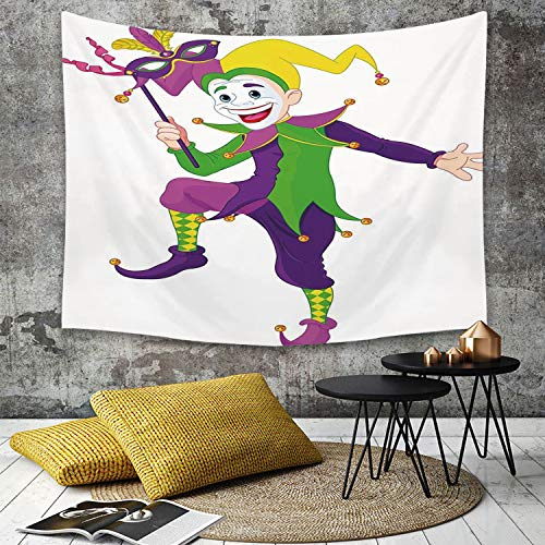 Bilder Kostüm Jester - Tapestry, Wall Hanging, Karneval, Cartoon-Stil Jester in ikonischen Kostüm mit Maske Happy Dancing Party Figure,wall hanging wall decor, Bed Sheet, Comforter Picnic Beach Sheet home décor 180 x 230 cm