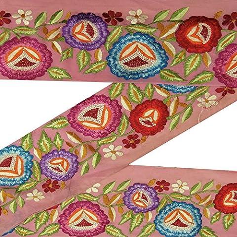 Indische Jahrgang gestickte gebrauchte Sari Border Pink Wrap Ribbon Nähen 1YD Trim (Pink Ribbon Wrap)