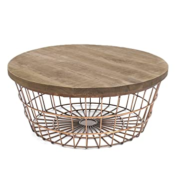 New glory coffee table by boo wire basket with storage space new glory coffee table by boo wire basket with storage space 90 cm copper amazon kitchen home greentooth Image collections