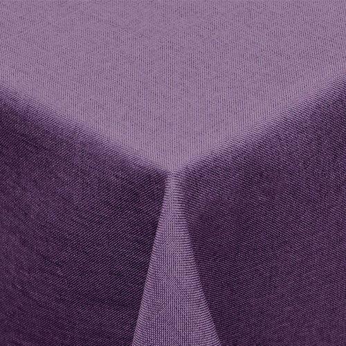 Textil Tischdecke Leinen-Optik 130x160cm eckig mit FLECK-Schutz lila *abwischbar* Farbe wählbar