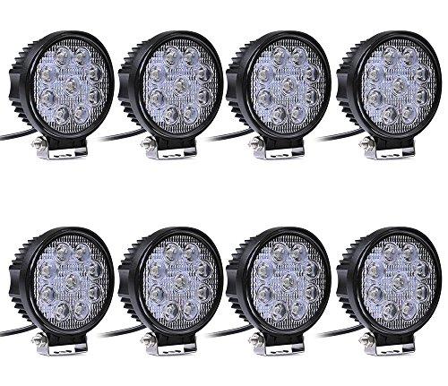 Leetop 8X Faro 27W Rotondo Faretto LED da Lavoro 9 LED di Profondità Auto Barca